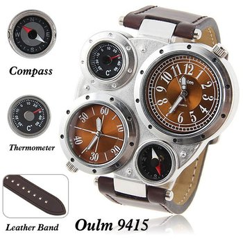 adventure men's quartz military wrist watch with  dual movt compass&Thermometer function round shaped brown 23mm leather band
