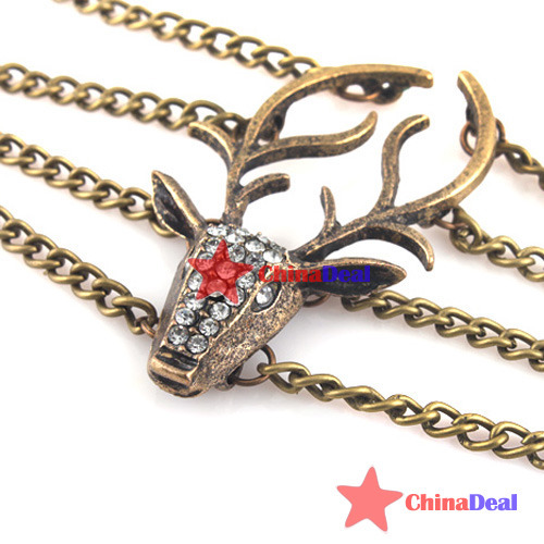 chinadeal Fitness!! Hot Vintage Retro Style Womens Rhinestone Deer Head Bronze Bangle Bracelet Gift quickly(China (Mainland))