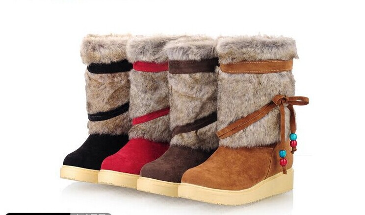 Large size women winter short plush brand snow boots, flat heel boots red, fur snow boots women size 34-43 free shipping(China (Mainland))