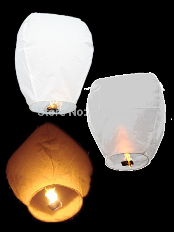 Chinese Lantern paper White Wedding Decoration Sky Fire sky lanterns Flying Candle Wish Lamp for Birthday Wish Party ideas(China (Mainland))