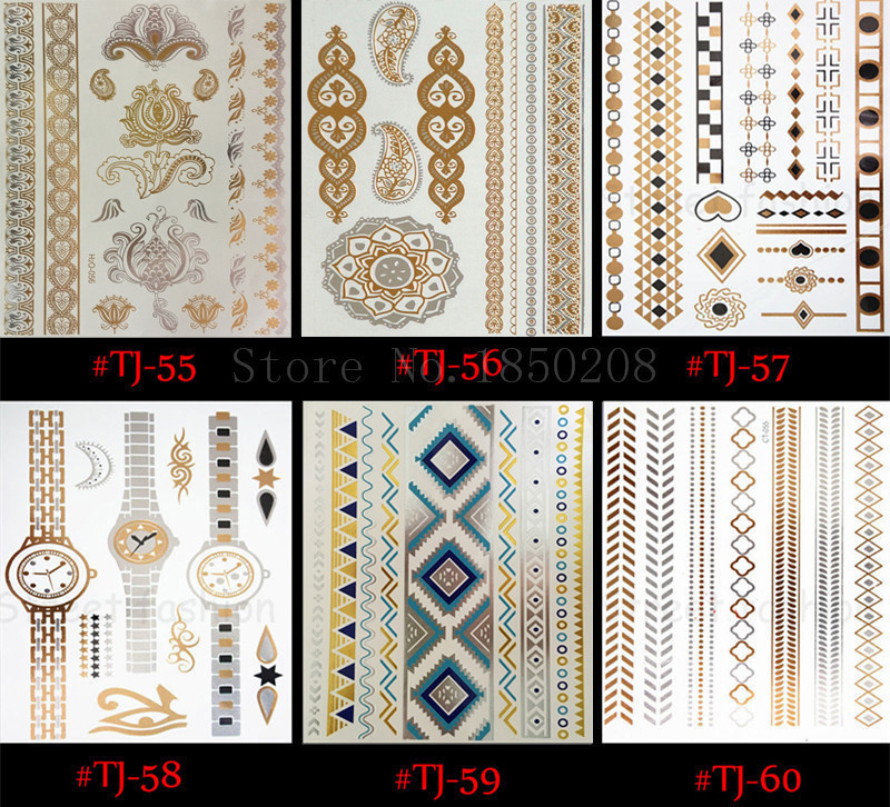 temporary tattoo Body art chain gold tattoo tatoo flash tattoo metallic tattoo jewelry temporary tattoost stickers