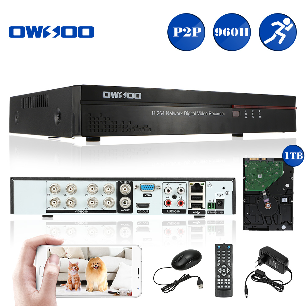 OWSOO 8CH Channel 960H/D1 DVR 8CH with 1TB Hard Drive H.264 P2P Cloud Network DVR Recorder Support Phone Control Home Security(China (Mainland))