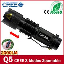 Free shipping 2000 Lumen Zoomable CREE XM-L Q5 LED Flashlight Torch Zoom Lamp Light linternas Black(China (Mainland))