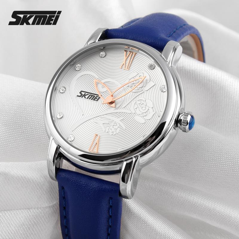 2015 Women Quartz Watch Analog Brand Fashion Casual Waterproof Leather Wrist Camellia Rose Flower Women's clocks and watches(China (Mainland))