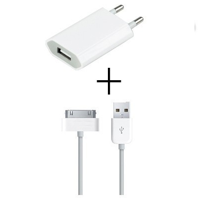 EU USB wall charger adapter + free 30-pin data cable kabel for Apple iPhone44S iPad 3 iPod 2 free shipping(China (Mainland))