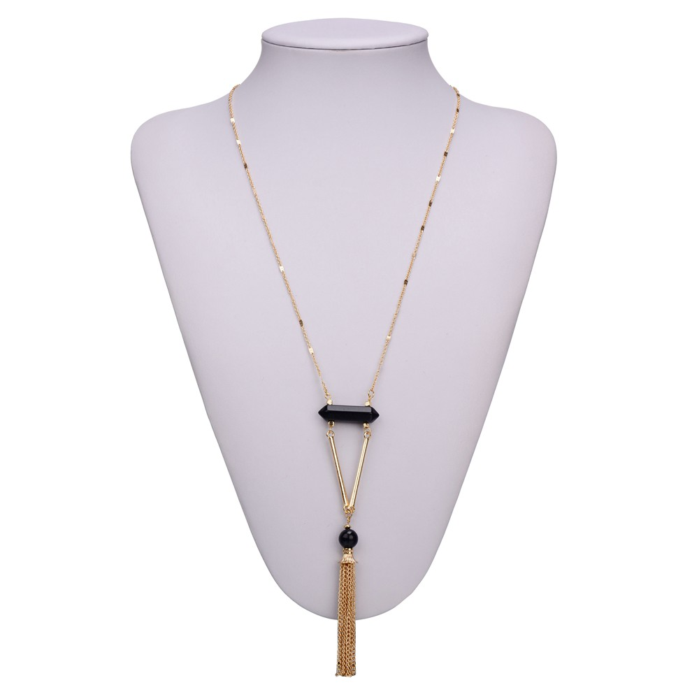 Classic Design Black White Square Pendants Crystal Natural Stone Long Tassel Necklaces For Women Ladies Sweater Chain Jewelry(China (Mainland))