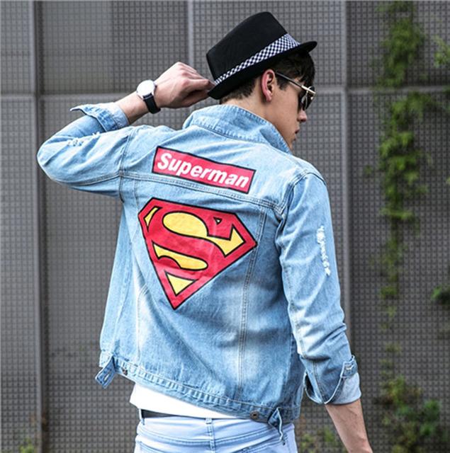Мужская джинсовая куртка высокое качество мода джинсы куртки уменьшают подходящие ...