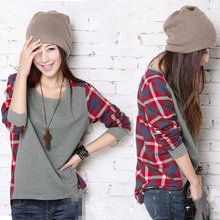 Only 3 piece 2016 fashion women Spring Cotton tops O-Neck Corduroy Plaid Full Regular Sleeve Casual Loose T-shirt S/M/L/XL/XXL(China (Mainland))