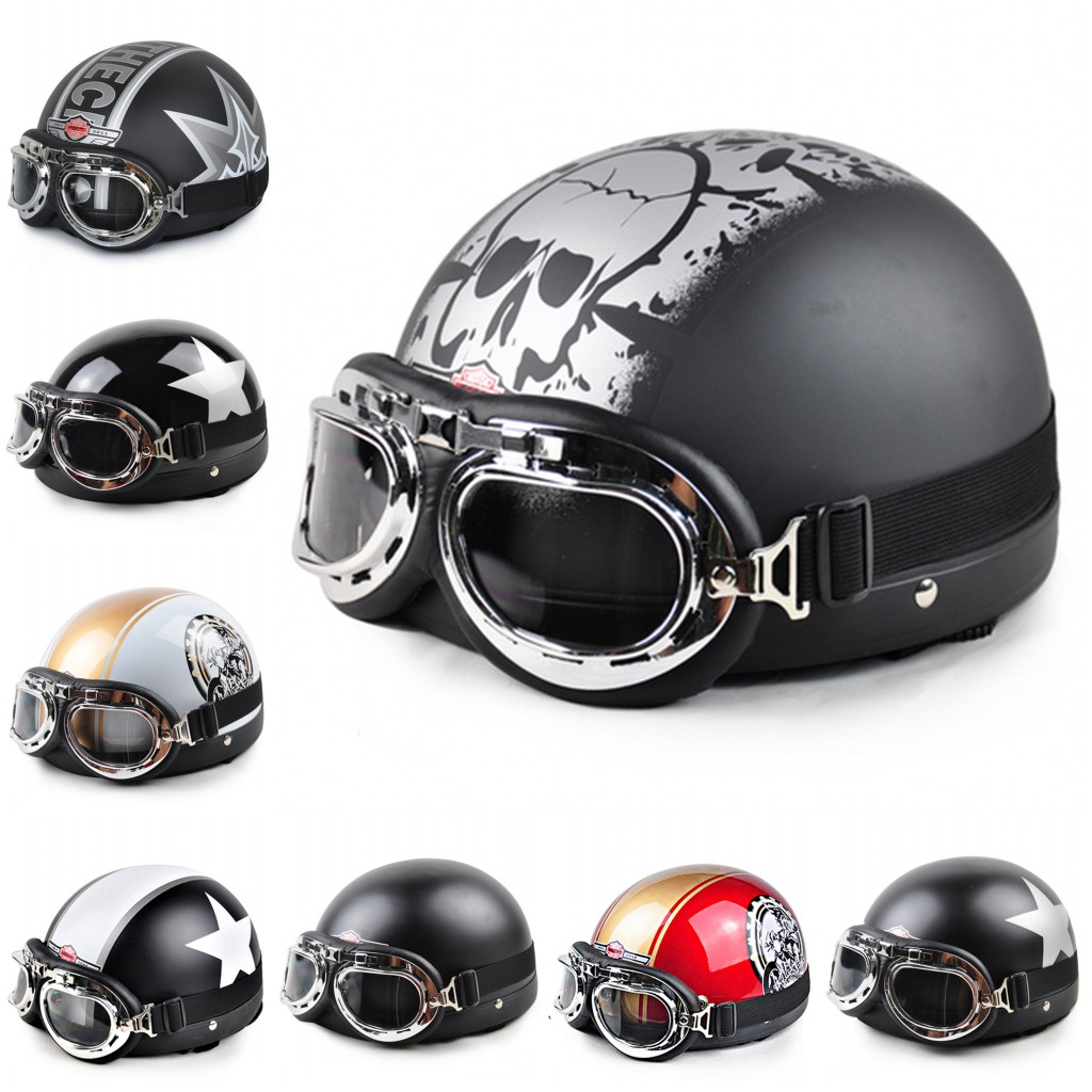 2015 Hot Goggles Motorcycle Half Face Motorcycle Racing Helmet Motorbike Bright black silver skull Helmet/ Free Shipping(China (Mainland))