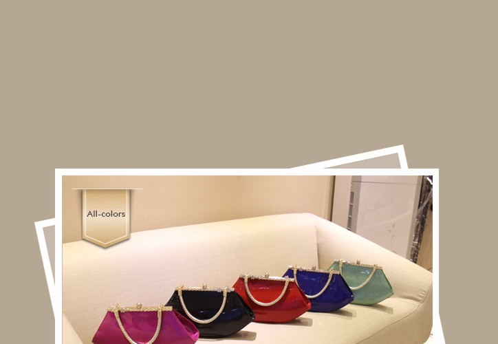 Evening & Party Bag Patent Leather Handbag Lady Luxury Elegant Rhinestone-inlaid Designer Women Chic Lip-shaped PU Shoulder Bag
