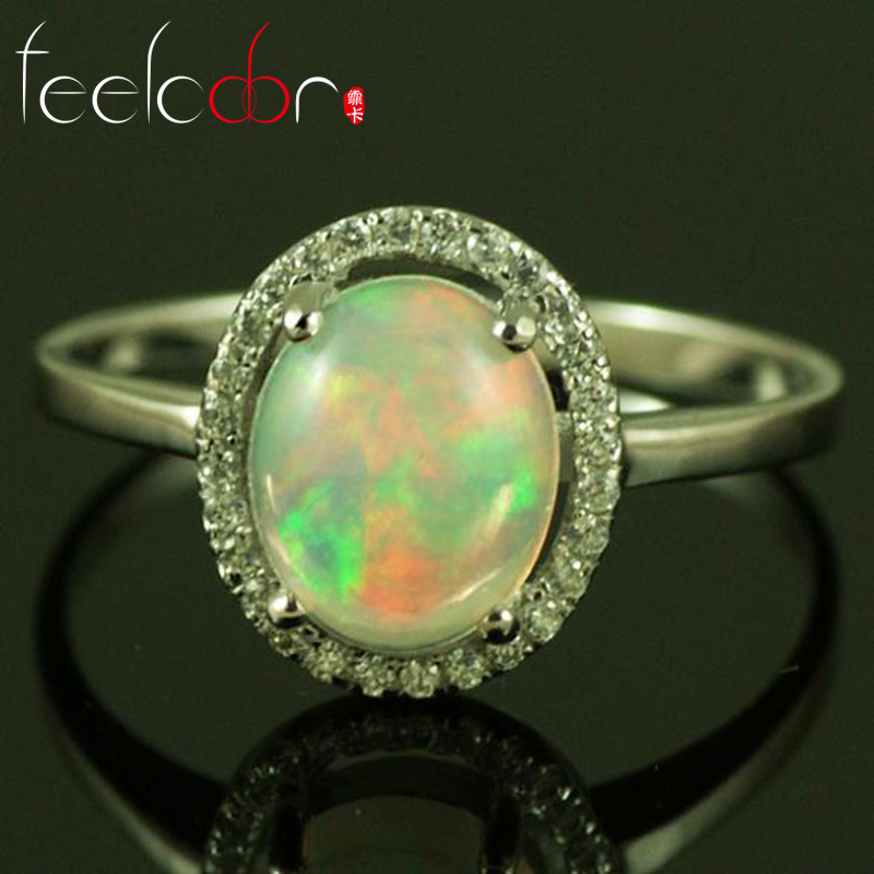 2014 Genuine Mined Multi Color Flash White Australian Genuine Fire Opal Oval 4X6mm 925 Solid Sterling Silver Ring(China (Mainland))