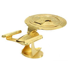 Buy Star Trek USS ENTERPRISE 1701-D 3D Golden Metal Puzzle Model 2 Sheets Brass Military Series DIY Creative Gifts English Packag for $5.99 in AliExpress store