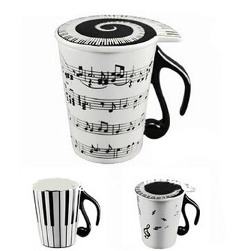 coffer mugs ceramic staff tea cups musical note piano keyboard milk water glass with cover handle drinkware free shipping F-39(China (Mainland))