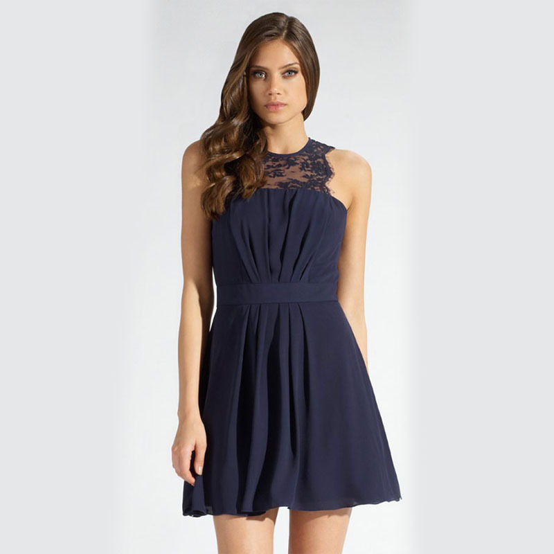 Lace mini dress sleeveless o neck party dress ruched sexy women dress