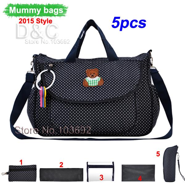 5pcs multifunctional bolsa maternidade baby diaper bags baby nappies bag mummy maternity bags ladies messenger bags handbag tote(China (Mainland))