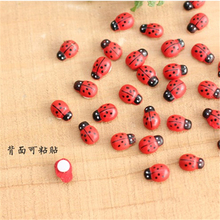 3*8*11MM /5*12*16MM Micro Landscape Decoration Wooden red color Beatles Coccinella ladybug(China (Mainland))