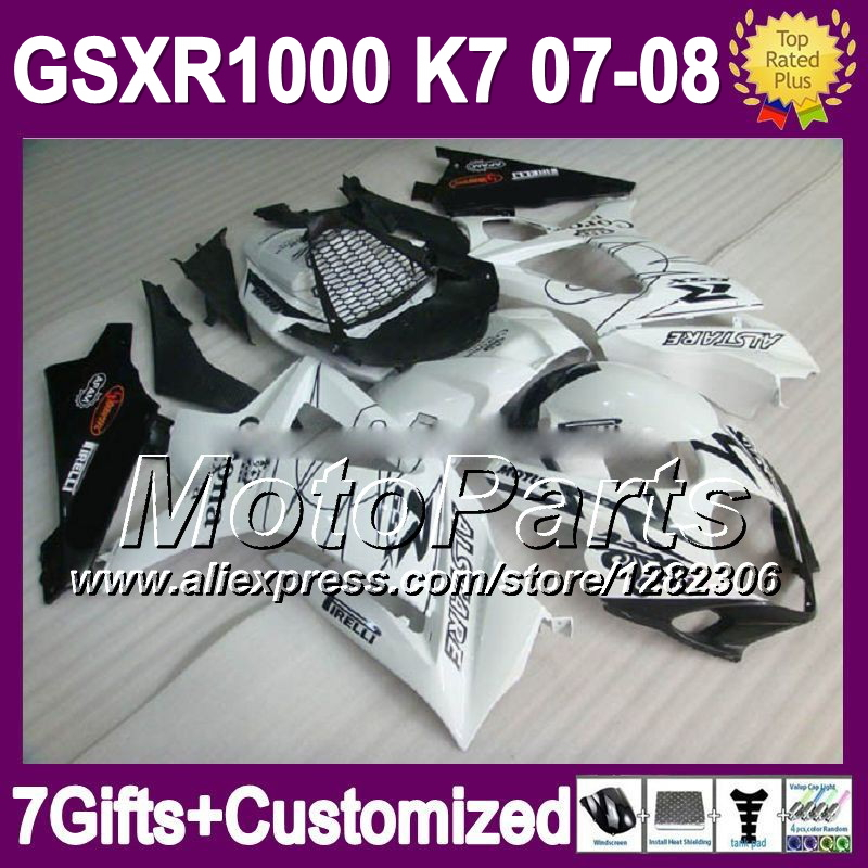 7 Free gifts CORONA For SUZUKI K7 07 08 GSX R1000 BLACK WHITE GSXR 1000 GSX-R1000 K7 906 GSXR1000 2007 2008 abs Fairing(China (Mainland))