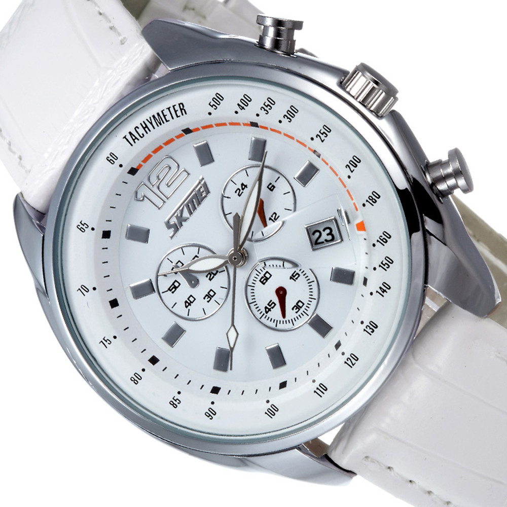Skmei Время и Дата Цинковый Сплав Кожа Календарь часы мужской моды 30 М Водонепроницаемые Часы