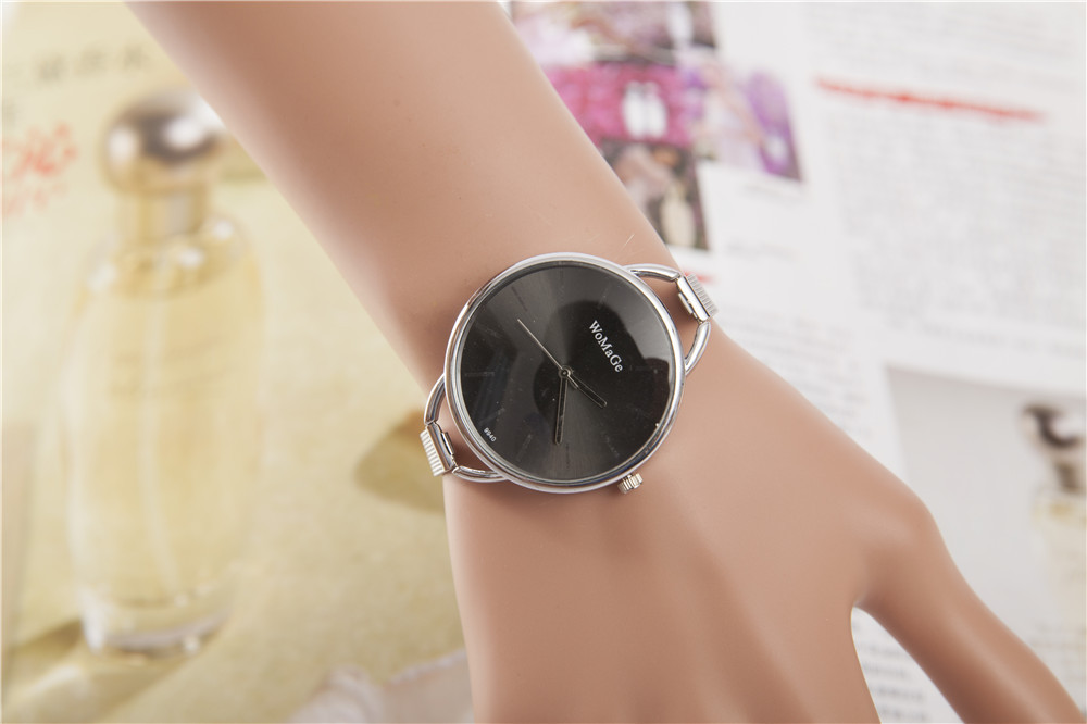 2016 Fashion Womage Full Stainless Steel Silver Thin Web Quartz Wristwatches Watch for Women Ladies Girls(China (Mainland))
