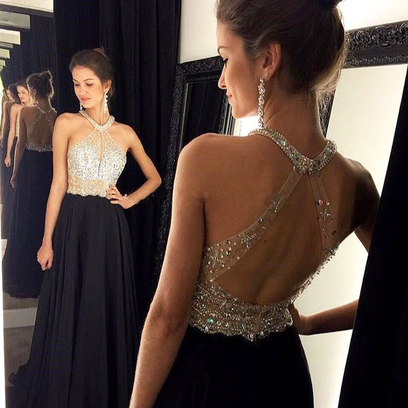 Abendkleid 2016 Chiffon Special Occasion Evening Dresses Long Black Sparkly Crystal Beads Prom Dresses Ireland Dnner Party Gowns(China (Mainland))
