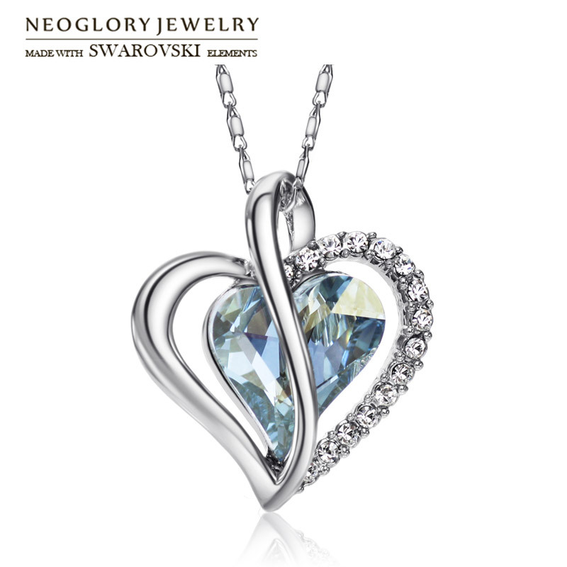 Neoglory Austria Crystal & Rhinestone Long Charm Necklace Romantic Love Heart Style Alloy Platinum Plated For Trendy Lady Party(China (Mainland))