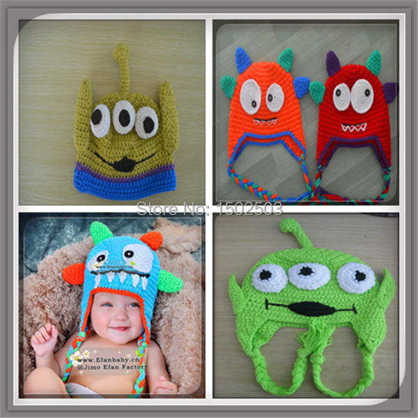2015 Crochet pattern baby monster beanie hat knitted monster babies boy girl winter hats(China (Mainland))