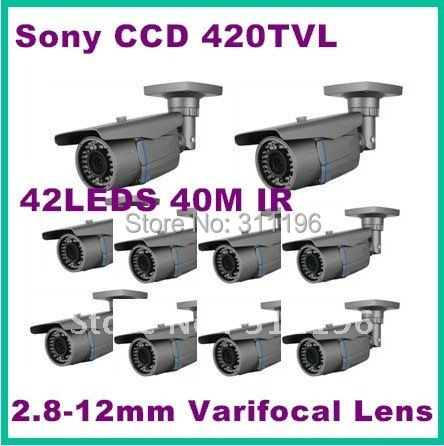 Security CCD Board Camera 2.8-12mm varifocal lens 42pcs leds 40m Day night vision 1/3inch Color CCD 420TVL,10pcs/lot(China (Mainland))