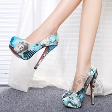 Marilyn Monroe Shoes Pointed Toe Sexy Pumps New Office Platform High Heels 16cm Printing Leather 2016 Fashion Kitten Club