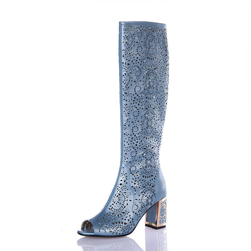 Women Sandals Knee High Women Boots Sexy Fashion Sandal Heels(7cm) La