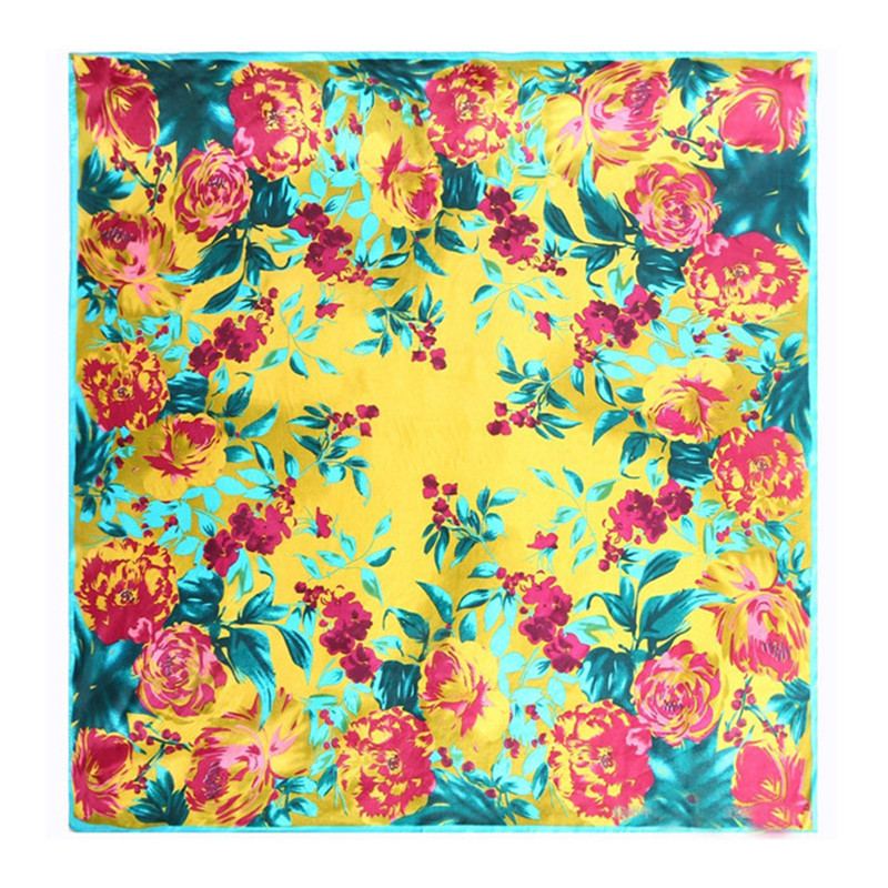 LING/90 * 90 Square Satin Women Shawls,Pure Silk Scarf For Women With Flowers Print,Spring And Autumn Ladies Bandana,Cape/9005(China (Mainland))
