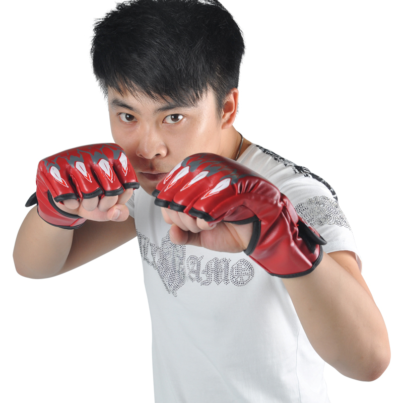 Free shipping!PU+EVA material!Boxing Gloves!black or red color!(China (Mainland))
