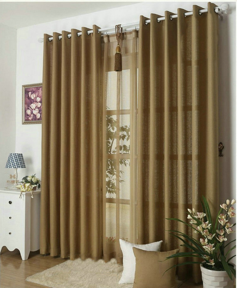 Curtains for living room plain curtains voile 9 colors grey burgundy