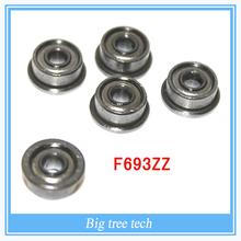 10PCS/LOT High Quality F693ZZ 3mm Flange Deep Groove Ball Bearing 3*8*4 3mm Flanged Ball Bearing
