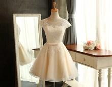 Free Shipping 2016 New Arrival Short Champagne Lace Wedding Dress Real Photo Sexy Plus Size Romantic China Wedding Dress Vestido(China (Mainland))