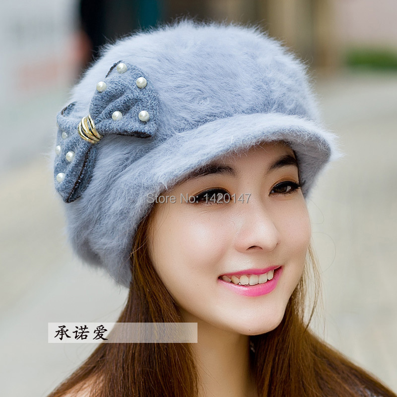 2015 Winter Hats for Women Rabbit Hair Winter Hats for Women Fur with Butterfly and Pearl Toucas De Inverno Feminino Feminina(China (Mainland))