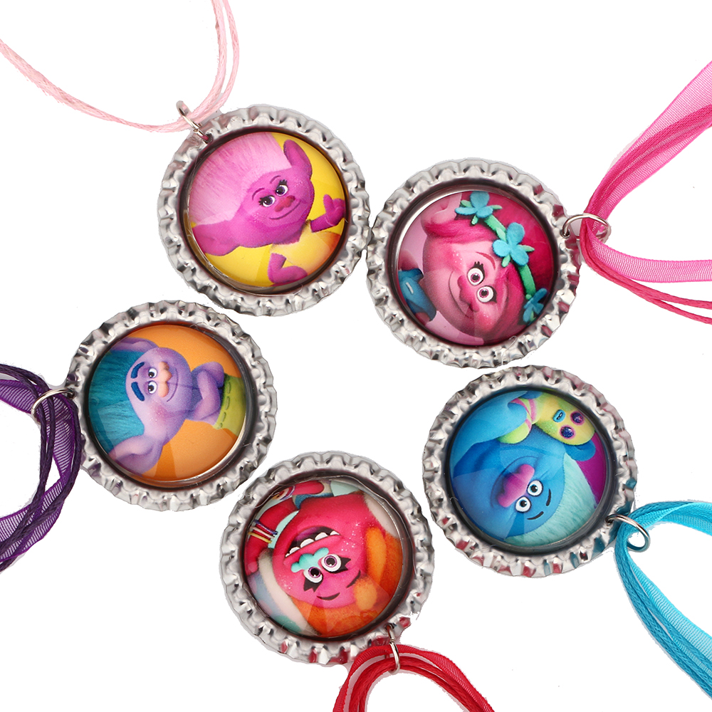 3sets Trolls Children Bottle Cap Charm Necklace Cartoon Dreamwork Movie Troll Ribbon Chain Necklace for Baby Toddler Gift(China (Mainland))