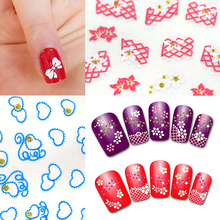 Brand New 24 Sheets Nail Art Stickers 3D Flower UV Gel Polish Tips DIY Manicure Decals 8F2W - Beauty store