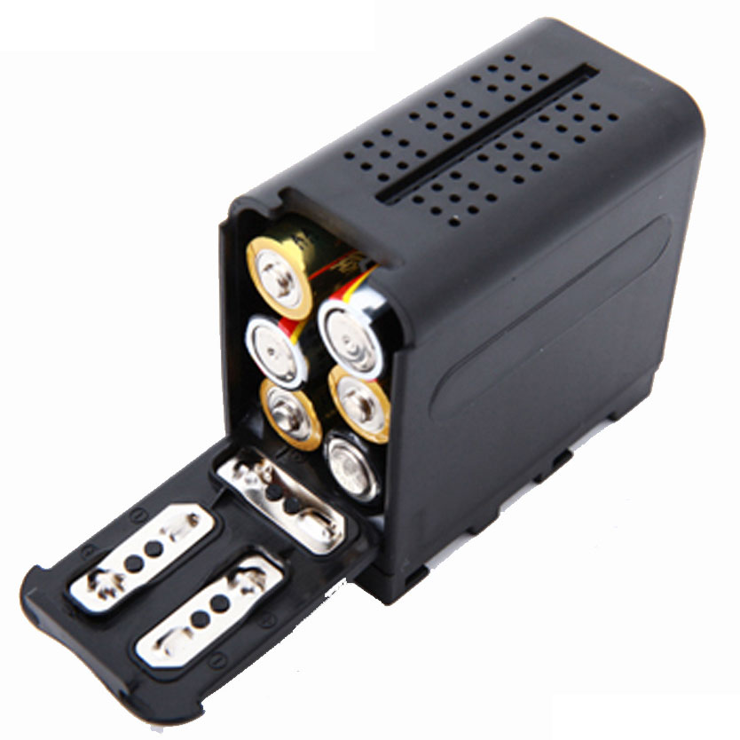 Brand 6pcs AA Battery Case Pack Power as NP-F970 for DV-160V YN160 III YN300 III LED-Pad LED VIDEO LIGHT Panel Falcon Eyes BB-6