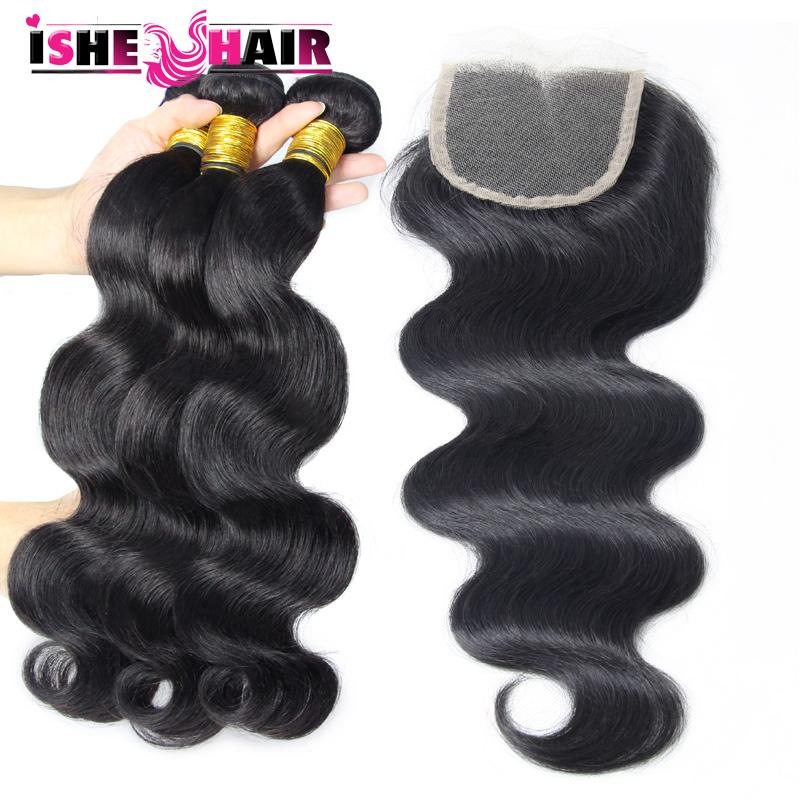 Brazilian Virgin Hair Body Wave 3 Bundles with Lace Closure 7A Unprocessed Virgin Hair with Closure Cheap Human Hair<br><br>Aliexpress