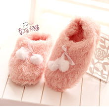 Cute winter pink pompon bow Peach sent home warm slippers plush floor at home slipper shoes woman 2013 free shipping(China (Mainland))