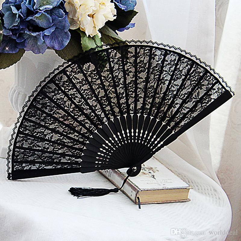 Gochic Handmade Black Floral Lace Folding Fan Fassel Dancing Performance Accessories H126(China (Mainland))