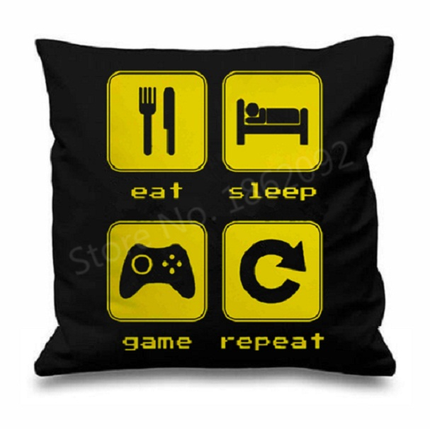 "Eat Sleep Game Cushion Cover Eat Sleep Game Repeat Throw Pillow Case Funny Black Custom Gamer Gifts Home Car Decor 18"" Two Sides(China (Mainland))"