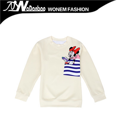 2015 New Autumn Two Color Sweatshirts Women Print Mickey Cartoon Mouse Hoodies Pullovers Moleton WJW1092(China (Mainland))