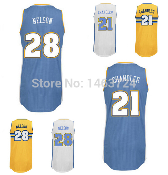 Denver Rev 30 New Material #28 Jameer Nelson Jersey #21 Wilson Chandler Basketball Jerseys Custom Polyester Blue Yellow White(China (Mainland))