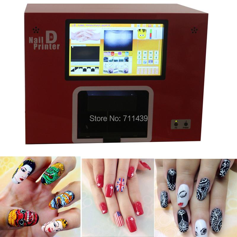 NEW UPGRADED 2016 free shipping computer and screen built inside nail and flower printer, digital nail printer 5 nails printing(China (Mainland))