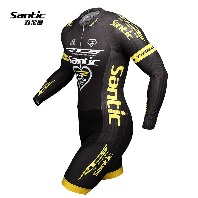 Santic Triathlon Coverall RTS Athletics Long Sleeve Sport Coverall Suit Cycling Jersey Bike Clothing Set Racing Team Skinsuit