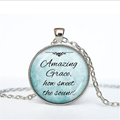 Christian jewelry Inspirational Jesus necklace silver chain necklace Faith Bible pendant Amazing grace how sweet the