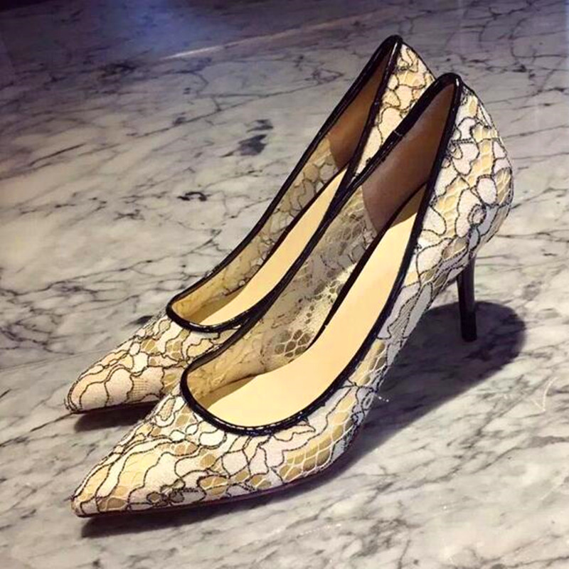 Фотография 2016 Summer New Sexy Women High Heels Beige Lace Pumps Pointed Toe Ladies Slip On Dress Party Wedding Fashion Shoes zapatos