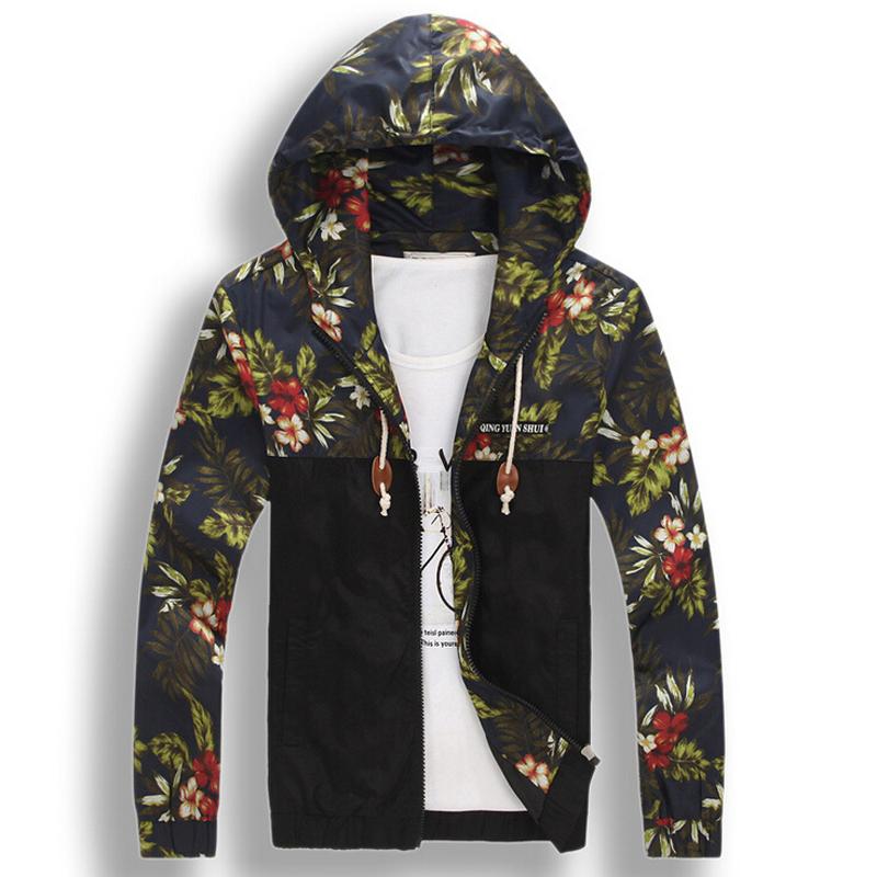 Mens floral hoodie jacket coat new fashion flower printed