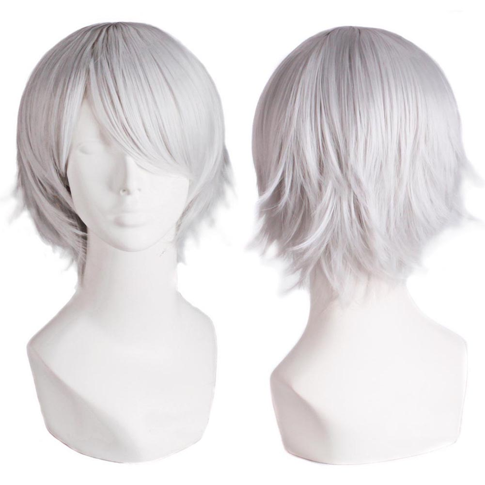 Fashion Men's Short Silver Hot Wire Cos Wig Synthetic Hair Heat Resistant For Costume Party HB88(China (Mainland))